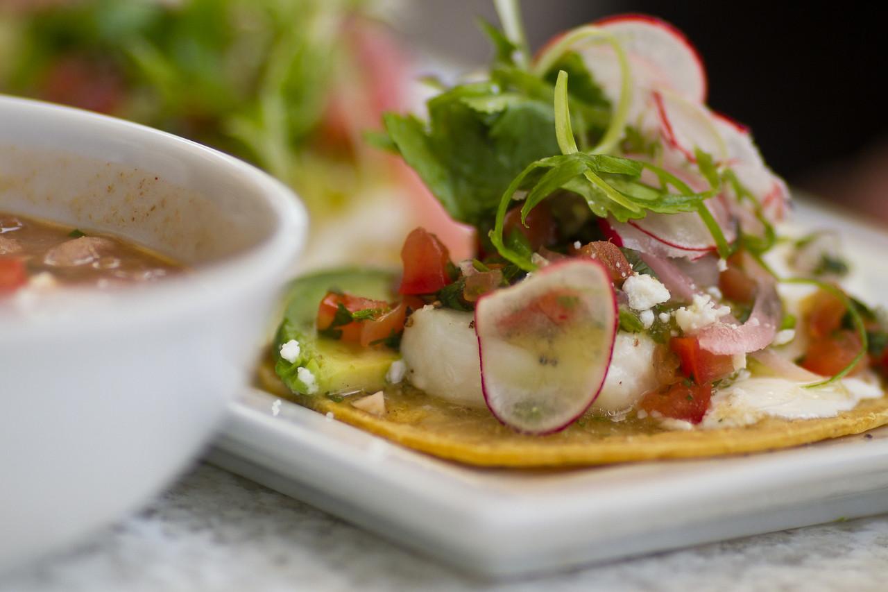 Halibut Street Tacos: Avocado, Anasazi Bean & Roasted Tomato Salsa
