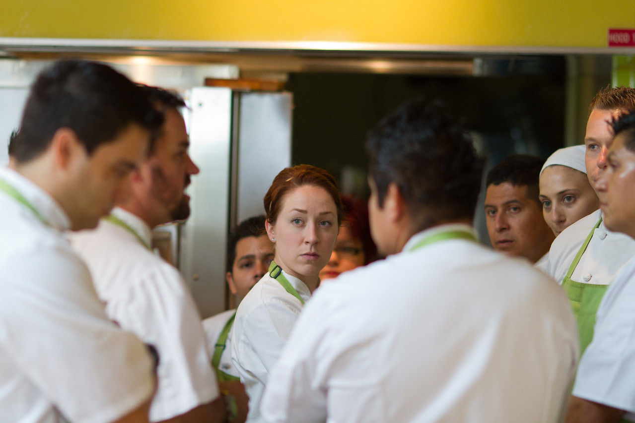 Chef Michael Stebner addresses cooking staff.