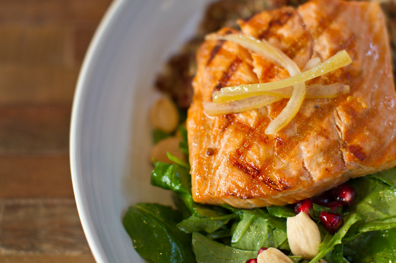 Grilled Steelhead Salmon: Quinoa, Local Beet & Preserved Lemon Salad