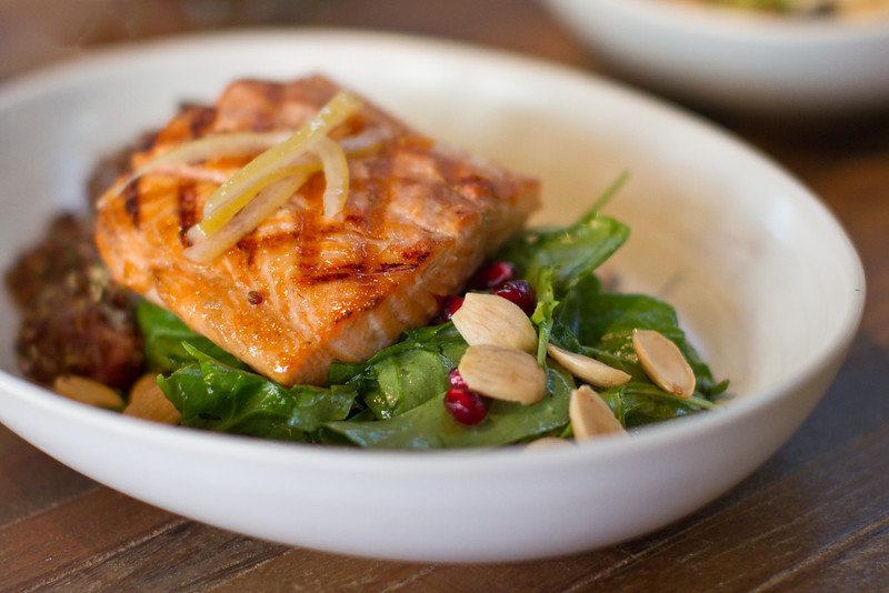 The Grilled Steelhead Salmon - Quinoa, Local Beet & Preserved Lemon Salad - is one of many new dishes at True Food.