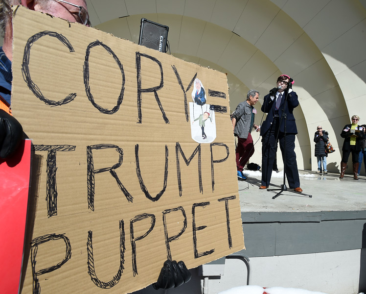 Cory Gardner and Donald Trump Protest