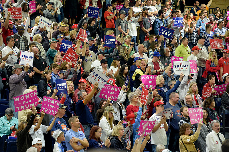 The crowd cheers during the Donald Trump rally Sunday, Oct. 30, 2016, at the Bank of Colorado Arena in the Butler Hancock Athletic Center at the University of Northern Colorado in Greeley. (Photo by Jenny Sparks/Loveland Reporter-Herald)