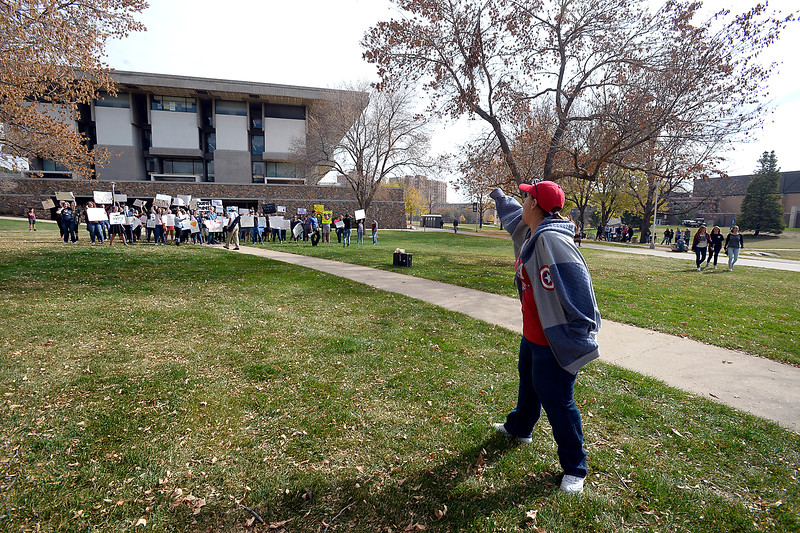 Patricia Arcuri of Aurora yells at protesters before the Donald Trump rally Sunday, Oct. 30, 2016, on the University of Northern Colorado campus in Greeley. (Photo by Jenny Sparks/Loveland Reporter-Herald)