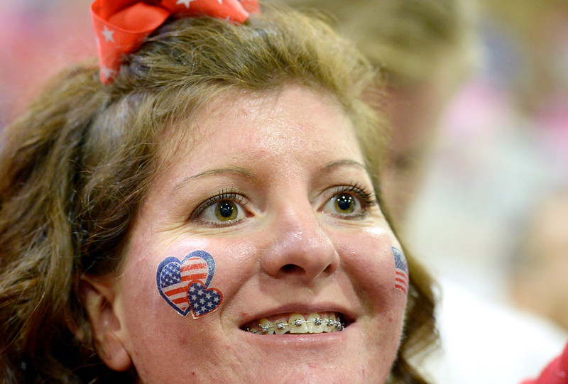 Becky McClain of Evans wears American flag sitckers on her cheeks during the Donald Trump rally Sunday, Oct. 30, 2016, at the Bank of Colorado Arena in the Butler Hancock Athletic Center at the University of Northern Colorado in Greeley. (Photo by Jenny Sparks/Loveland Reporter-Herald)