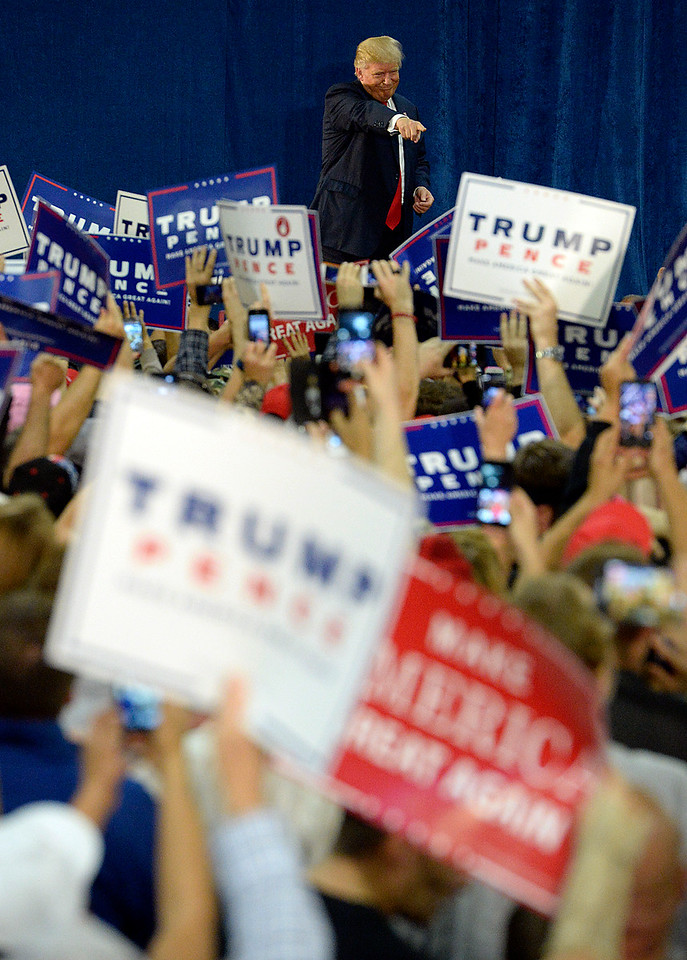 Donald Trump greets the crowd Sunday, Oct. 30, 2016, during a rally at the Bank of Colorado Arena at Butler Hancock Athletic Center at the Univeristy of Northern Colorado in Greeley. (Photo by Jenny Sparks/Loveland Reporter-Herald)