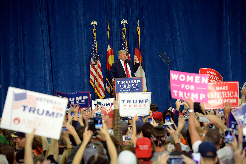 Donald Trump speaks Sunday, Oct. 30, 2016, during a rally at the Bank of Colorado Arena in the Butler Hancock Athletic Center at the University of Northern Colorado in Greeley. (Photo by Jenny Sparks/Loveland Reporter-Herald)
