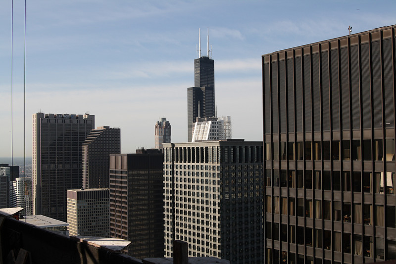 Looking out over the 49th floor; the IBM building is at far right, Sears tower in the distance. Photo by Jim Horton