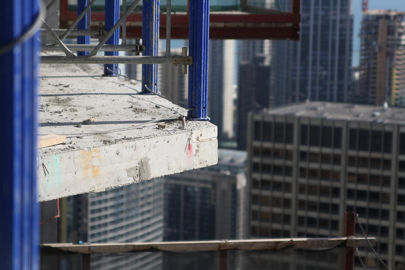 Looking at the shoring on the edge of the 44th floor   Photo by Jim Horton