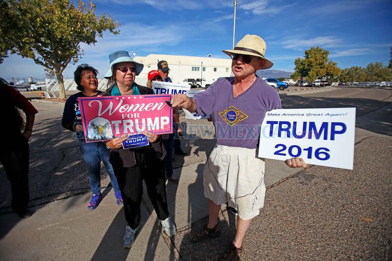 Kenn Nolan, cq, from Gramby, CO, voices his support for Trump at  a Trump Rally at Atlantic Aviation in Albuquerque on October 30, 2016. Luis Sanchez Saturno/The New Mexican