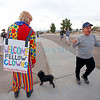 "Jerry Trujillo, right, from Albuquerque, chants ""lock her up"" as he walks past Jon Hendry, from Albuquerque, with Clowns4Trum, at a Trump Rally at Atlantic Aviation in Albuquerque on October 30, 2016. Luis Sanchez Saturno/The New Mexican"