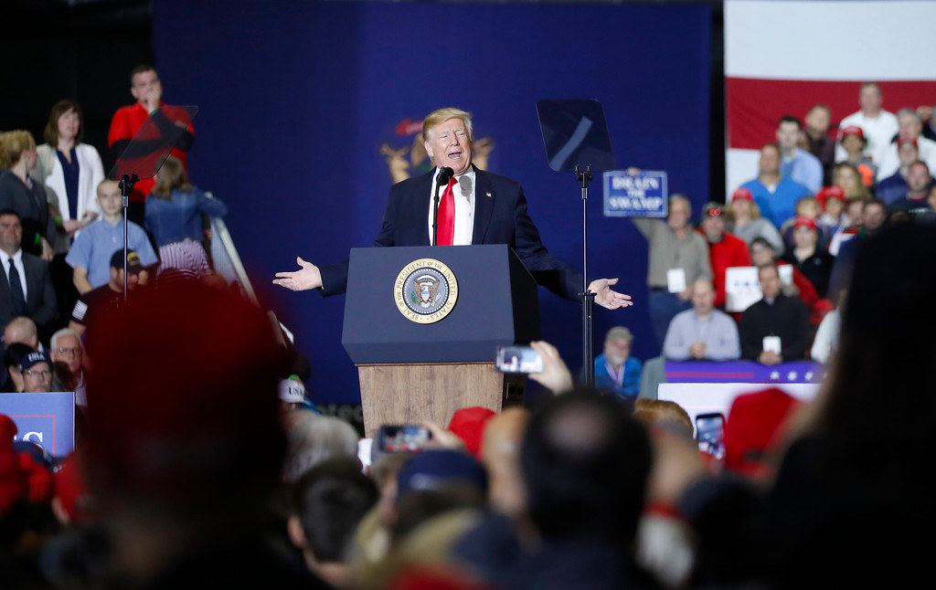 . President Donald Trump speaks at a rally at Total Sports Park Saturday, April 28, 2018, in Washington, Mich. (AP Photo/Pablo Martinez Monsivais)