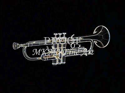 Dark Drawing of a Trumpet 419.2063