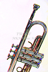 Silver Trumpet On Yellow music Art 2501.08