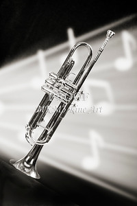 Trumpet in Music Storm in Sepia Canvas Art 2502.50