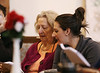 HOLLY PELCZYNSKI - BENNINGTON BANNER Shelagh Muckle, Activities Director at Bennington Project Independence sings with member, Loretta Lemieux of Bennington on Thursday morning during a musical visitor at BPI, Gina Anzivino who plays trumpet and works at BPI as a membership coordinator.