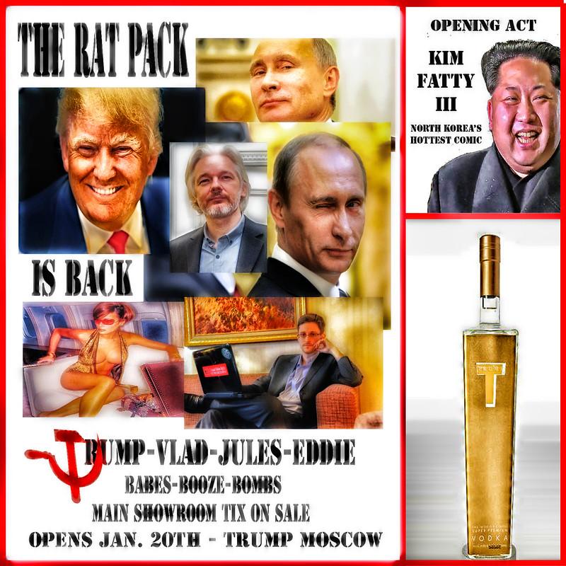 The RAT Pack Is Back With Trumpie-Vlad-Jules-Eddie---Ft Melania Trump As Angie Dickinson