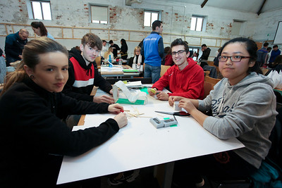 From Left: Erica Corcoran, PCC falcarragh, Donegal; Alex Dillon, Colaiste Lorcain Community College;  1st year Architecture student John Murphy; & Fiona Lin, Presentation Secondary School Waterford. Photo: George Goulding WIT