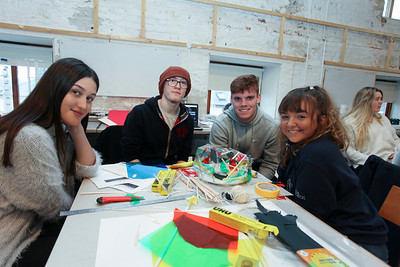 From Left: Lucjia Dolinsek, and Cara Pattonfrom Our lady of Mercy SS Waterford, with 1st year Architecture students WIT Anthony Harty & Mark McGinley with their Bird's nest Stadium Design. Photo: George Goulding WIT