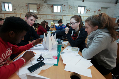 From Left: 1st Year Architecture Students Kevin Mayinou and David Grogan with Leonora Curran & Caoilfhinn Harte, from Gaelcolaiste Phort Lairge at the Try Architecture Event at the Granary WIT. Photo: George Goulding WIT