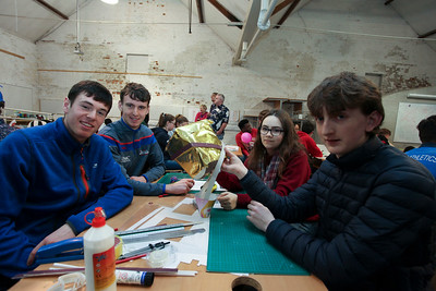 From Left: 1st Year Architecture students Darren Geoghan & Joshua Bourke with Wictoria Skozylas, Grennan College Thomastown and Conor Kehoe, Bridgetown College Wexford. Photo: George Goulding WIT