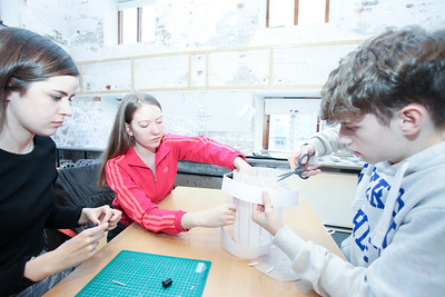 From Left: 1st Architecture Student WIT Rebecca Mooney helping Martyna Symrak from St. Mary's Secondary School, New ross Co. Wexford; and Ryan Kelly, St. Pauls Community College waterford at the Granary Try Architecture Event. Photo: George Goulding WIT
