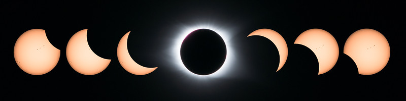 Progression of total solar eclipse