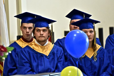 A pensive moment during remarks from Kenny Richards, Northern Humboldt Union High School District Superintendent. (José Quezada — For the Times-Standard)
