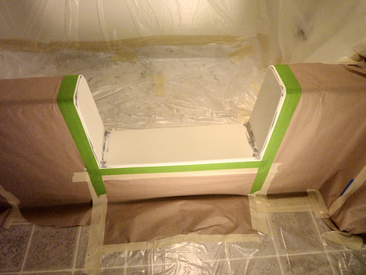 Tub area all protected against over-spray.