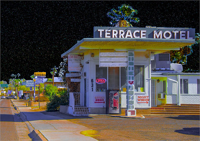 From the historic Miracle Mile in Tucson, AZ, this once revered 'Terrace Motel,' built in 1949, still stands today with its original sign. Tucson 2018. #tucson #miraclemile #preservinghistory #cityscapes #onceuponatime #streetphotography