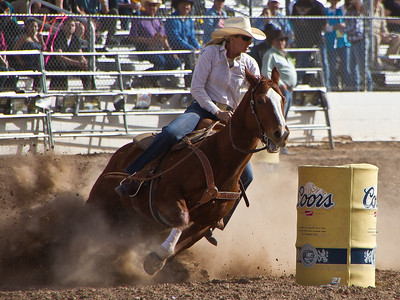 Tucson Rodeo 29 Feb 2011 Barrel Racer Around Number Two