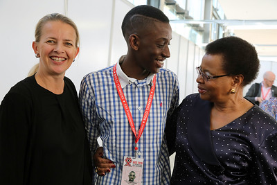 21st International AIDS Conference (AIDS 2016), Durban, South Africa. Tuesday 19th July 2016, VENUE : Durban ICC (Green Room) Tuesday Plenary  Princess Mabel of Orange-Nassau, Sello Andy Morobi and Graca Machel  Photo©International AIDS Society/Abhi Indrarajan