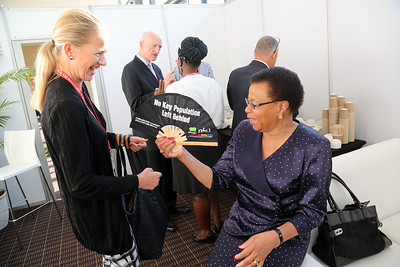 21st International AIDS Conference (AIDS 2016), Durban, South Africa. Tuesday 19th July 2016, VENUE : Durban ICC (Green Room) Tuesday Plenary Princess Mabel of Orange-Nassau interacting with Graca Machel Photo©International AIDS Society/Abhi Indrarajan