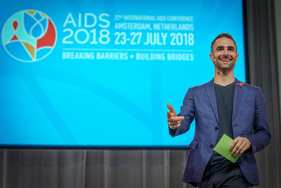 22nd International AIDS Conference (AIDS 2018) Amsterdam, Netherlands.   Copyright: Matthijs Immink/IAS  #PassTheMic: Meaningful youth participation in the fight against HIV  Photo shows:  Quinn Tivey, The Elizabeth Taylor AIDS Foundation, United States