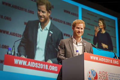 22nd International AIDS Conference (AIDS 2018) Amsterdam, Netherlands.   Copyright: Matthijs Immink/IAS  PLENARY Breaking barriers of inequity in the HIV response  Photo shows:   HRH The Duke of Sussex, United Kingdom