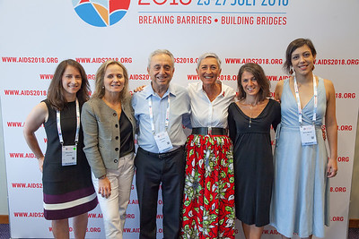 The Netherlands, Amsterdam, 24-7-2018.  Press Conference HIV Prevention Highlights Research.  L-R Rebecca Zash, Sharon Lewin, Pedro Cahn, Linda-Gail Bekker, Sarah Fidler, Mariana Veloso Meireles. Photo: Rob Huibers for IAS.  (Please publish always with complete attribution).