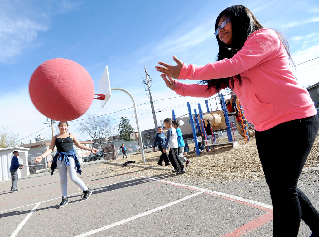 . Betsy Lopez, right, plays foursquare with other fifth-graders  at University Hill Elementary on Tuesday. Cliff Grassmick  Photographer November 14, 2017