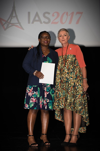 9th IAS Conference on HIV Science (IAS 2017) Paris, France. Copyright: Marcus Rose/IAS  Plenary Session (TUPL01) Photo shows: Award Presentation: Collaborative Initiative for Paediatric HIV Education and Research (CIPHER) Grant and Fellowship Programmes. Fellow: Jane Mutanga & Linda-Gail Bekker, Desmond Tutu HIV Centre, South Africa