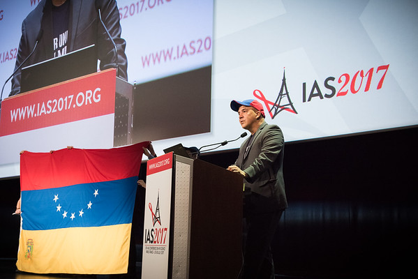 9th IAS Conference on HIV Science (IAS 2017) Paris, France. Copyright: Marcus Rose/IAS  Plenary Session (TUPL01) Photo shows: Activists demand access to medications and treatments for HIV affected persons in Venezuela.
