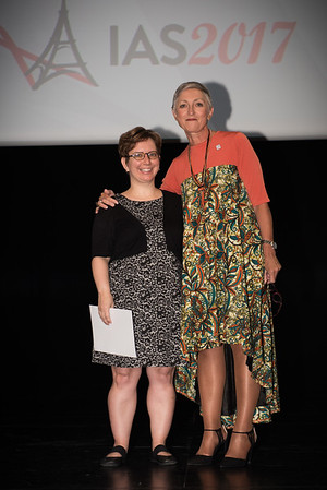 9th IAS Conference on HIV Science (IAS 2017) Paris, France. Copyright: Marcus Rose/IAS  Plenary Session (TUPL01) Photo shows: Award Presentation: Collaborative Initiative for Paediatric HIV Education and Research (CIPHER) Grant and Fellowship Programmes. Fellow: Adrie Bekker & Linda-Gail Bekker, Desmond Tutu HIV Centre, South Africa