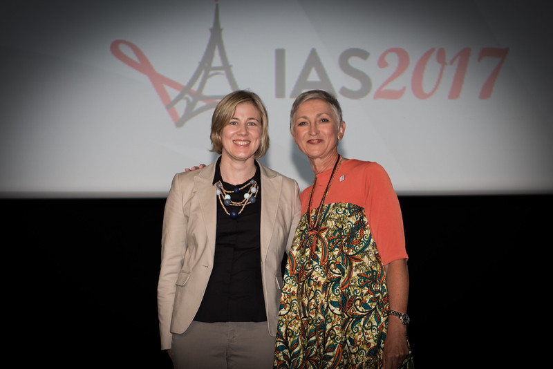 9th IAS Conference on HIV Science (IAS 2017) Paris, France. Copyright: Marcus Rose/IAS  Plenary Session (TUPL01) Photo shows: Award Presentation: Collaborative Initiative for Paediatric HIV Education and Research (CIPHER) Grant and Fellowship Programmes, Grantee: Amy Slogrove with Linda-Gail Bekker, Desmond Tutu HIV Centre, South Africa