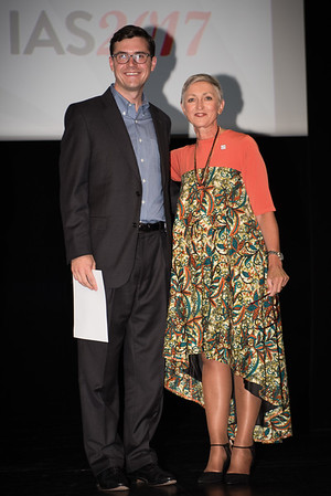 9th IAS Conference on HIV Science (IAS 2017) Paris, France. Copyright: Marcus Rose/IAS  Plenary Session (TUPL01) Photo shows: Award Presentation: Collaborative Initiative for Paediatric HIV Education and Research (CIPHER) Grant and Fellowship Programmes, Grantee: Andrew McCrary & Linda-Gail Bekker, Desmond Tutu HIV Centre, South Africa.