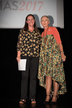 9th IAS Conference on HIV Science (IAS 2017) Paris, France. Copyright: Marcus Rose/IAS  Plenary Session (TUPL01) Photo shows: Award Presentation: Collaborative Initiative for Paediatric HIV Education and Research (CIPHER) Grant and Fellowship Programmes. Grantee: Ute Feucht & Linda-Gail Bekker, Desmond Tutu HIV Centre, South Africa