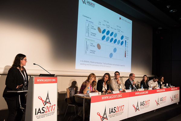 9th IAS Conference on HIV Science (IAS 2017) Paris, France. Copyright: Marcus Rose/IAS  Photo shows: TUPDB01: HIV Reservoirs: Ups and Downs. Impact of T cell homeostasis and thymic output on the seeding of the HIV reservoir in infants Marta Massanella, Centre de Recherche du CHUM, CR-CHUM, Canada