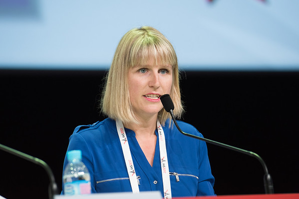 9th IAS Conference on HIV Science (IAS 2017) Paris, France. Copyright: Marcus Rose/IAS  Photo shows: TUSY01 Differentiated Service Delivery and Care: Key Considerations for Successful Scale-up.    Co-Chair: Anna Grimsrud, International AIDS Society (IAS), South Africa