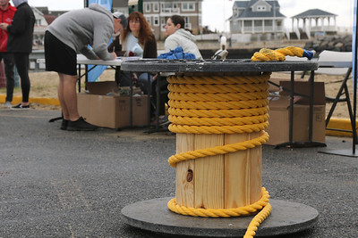 "600 feet of rope was stretched across the Manasqaun Inlet fo The Inaugural Manasquan Inlet Intercoastal Tug that was held across the Manasquan Inlet from Ocean Ave. in Point Pleasant Beach to First Ave. in Manasquan. Six teams of 25 ""tuggers"" competed on Saturday October 20,2018 (MARK R. SULLIVAN/THE COAST STAR)"
