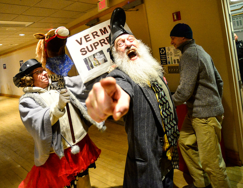 KRISTOPHER RADDER — BRATTLEBORO REFORMER<br /> Perennial candidate and performance artist Vermin Supreme draws a crowd before the start of a town hall for Democratic presidential candidate Rep. Tulsi Gabbard, D-Hawaii, at Keene State College, in Keene, N.H., on Wednesday, Feb. 5, 2020.