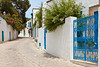 A narrow street with blue and white architecture in Sidi Bou Said, Tunisia.