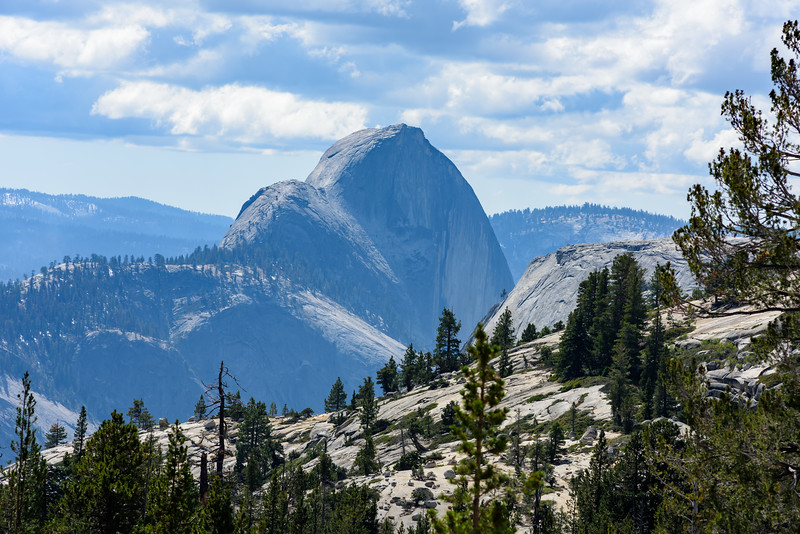 Half Dome from Olmsted Point w/Nikon 180/f2.8.  Early in the week smoke from fires in Yosemite Valley obscured Half Dome ... still  some haze but better :)