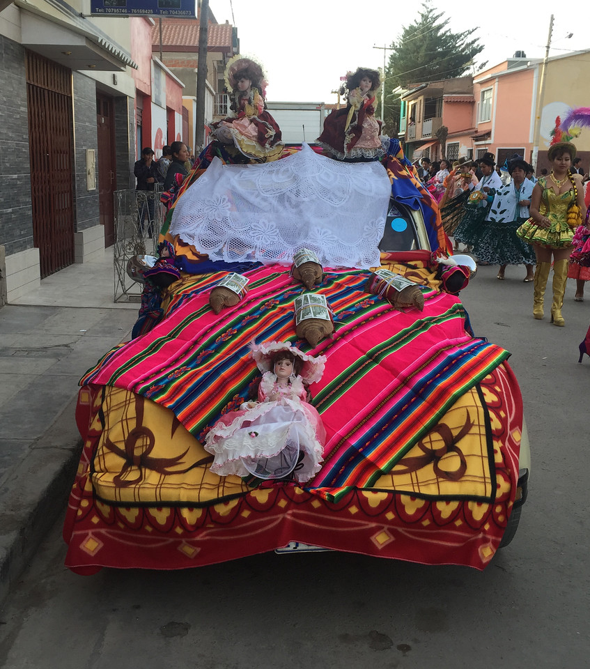 Cars decorated for the procession of Virgin of Guadalupe in Tupiza, Bolivia