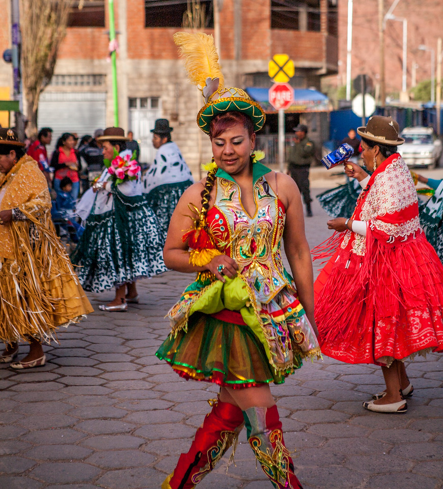 Woman dancing at the festival of Virgin of Guadalupe in Tupiza, Bolivia